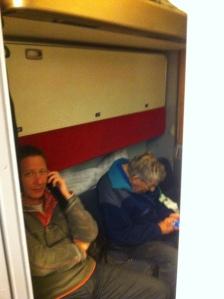 in the train compartment