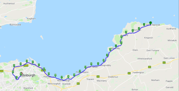 map of cycling route from North Berwick to Edinburgh