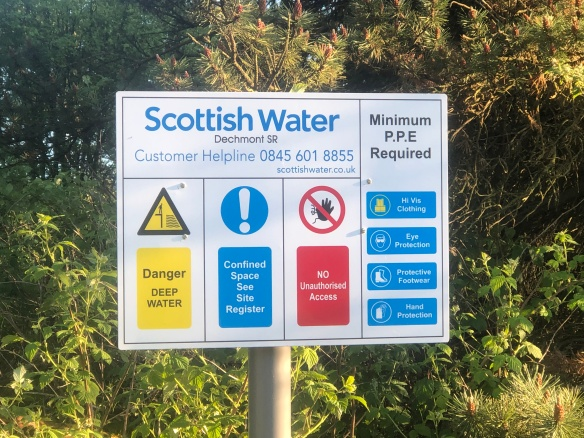 Photo of a Scottish Water sign where I stopped for a break on the A8