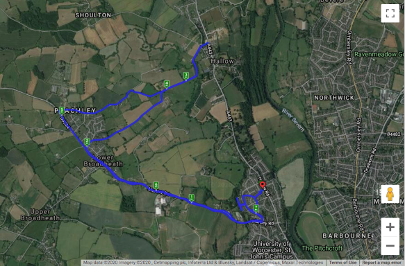 cycle route through Worcestershire